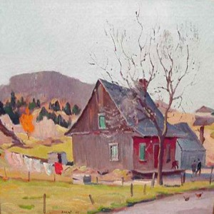 "oil painting on canvas by R.W. Pilot (Robert Wakeham Pilot, PRCA, OSA, 1898 - 1967). ""Farmhouse - Piedmont, Quebec_1945"". 20""x 24""."