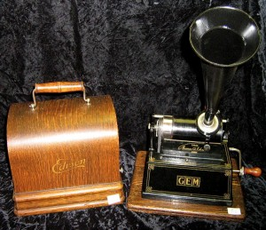"Rare antique ""Gem"" table model cylinder phonograph with large and small horns, by Thomas A. Edison"